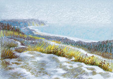 Picture `Winter Dunes`. Paper, pastel Royalty Free Stock Photos