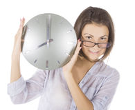 Picture of woman with big clock Royalty Free Stock Photo