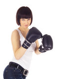 Picture of woman in boxing gloves Stock Photos