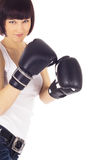 Picture of woman in boxing gloves Royalty Free Stock Images