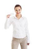 Picture of woman with business card royalty free stock photos