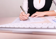 Picture of woman hand writing on paper Stock Photos
