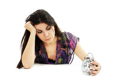 Picture of woman holding alarm clock Stock Photos