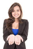 Picture of woman holding something on the palms Stock Images