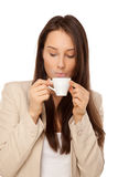 Picture of woman in jacket with cup of coffee Stock Image