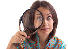 Picture of woman with magnifying glass Royalty Free Stock Photo