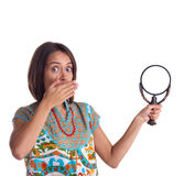 Picture of woman with magnifying glass Stock Images
