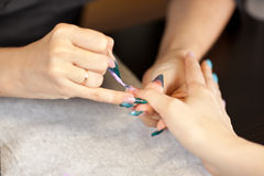 Picture of woman at manicure procedure Royalty Free Stock Photography