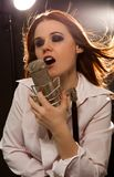 Picture of woman with microphone royalty free stock images