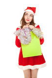 Picture of woman with new year shopping bag Royalty Free Stock Image