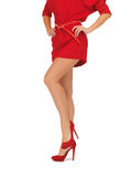 Picture of woman in red dress on high heels Royalty Free Stock Photography