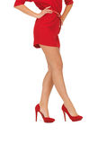 Picture of woman in red dress on high heels Stock Images
