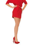 Picture of woman in red dress on high heels Stock Photos