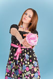 Picture of a woman with roses Royalty Free Stock Image