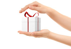 Picture of woman's hands holding a gift box stock illustration