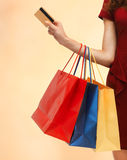 Picture of woman with shopping bags Stock Image