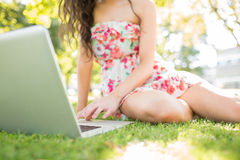 Picture of woman sitting on grass using laptop Stock Images