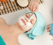 Picture of a woman at spa procedures Stock Photos