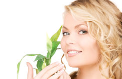Picture of woman with sprout Stock Image