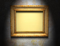Picture wooden frame. Ornamented, gold wooden empty picture frame for putting your pictures in Royalty Free Stock Photography