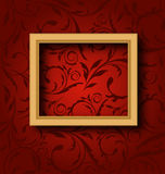 Picture wooden frame on vintage wall. Illustration picture wooden frame on vintage wall - vector Royalty Free Stock Photo