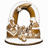 Picture of wooden Nativity Scene, handcarved. Bethlehem gingerbread home-made, traditional in the Czech Republic. Handcarved Stock Photography