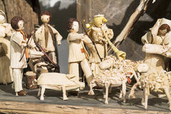 Picture of wooden Nativity Scene, handcarved. Picture of wooden Nativity Scene, Bethlehem made for straw handicrafts, typical Czech Stock Photo