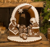 Picture of wooden Nativity Scene, handcarved. Christmas gingerbread nativity scene. handcarved Royalty Free Stock Photo