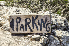 Picture of Wooden Parking Sign. Hand Painted Wooden Sign with directions to. Hand Painted Wooden Sign with directions to parking stock image