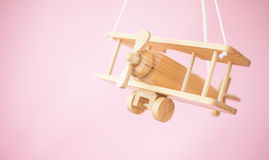 Picture of the wooden toy plane Stock Images