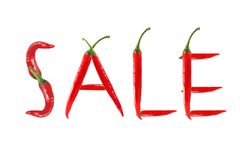 Picture of the word sale written with red chili peppers Stock Images
