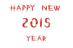 Picture of the words HAPPY NEW YEAR written with red chili peppe Royalty Free Stock Images