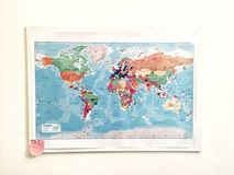 Travel map on a wall Stock Photography