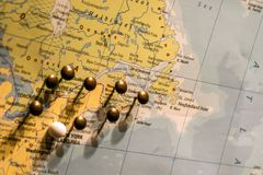 Picture of World Map Travel concept with many pushpins pins East USA and Canada. Picture of World Map Travel concept with many pushpins pins in East USA and Stock Photo