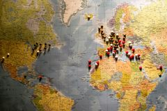 Picture of World Map Travel concept with many pushpins spherical pins. Picture of World Map Travel concept with many pushpins pins Royalty Free Stock Images