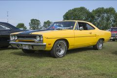 Plymouth road runner. Picture of yellow plymouth road runner during convention chrysler at st liboire august 4-5 2018 stock photos