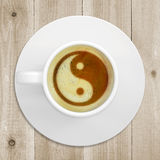 Picture the yin-yang in coffee foam Stock Photos