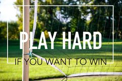 Play hard if you want to win business quotes. On this picture you can see a great quality picture with elements of business and corporative culture Stock Photos