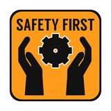 Safety first abstract poster. On this picture you can see some business safety at life poster. You can use this picture for all your needs Royalty Free Stock Images