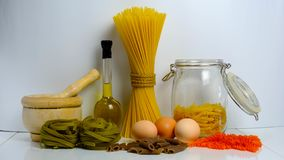 Variety of pasta and colors stock photos