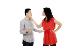 Young couple arguing on studio Royalty Free Stock Image