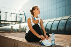 Picture of young attractive happy fitness woman royalty free stock image