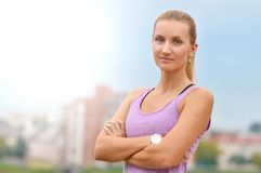 Picture of young attractive happy fitness woman royalty free stock photography