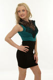 Woman blond long hair, fashion model portrait, smiling girl Stock Photo