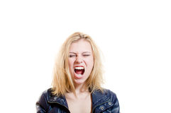 Picture of young blonde pretty woman emotionally Stock Photography