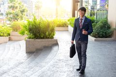 Picture of a young business man walking forward with a briefcase Royalty Free Stock Photos