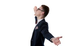 Picture of a young business man welcoming everybody with his arm Stock Photo