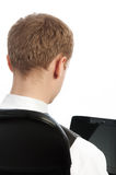 Picture of young businessman from behind Stock Photo