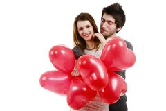 Picture of a young couple, valentine day concept. Isolated on white Stock Photos