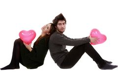 Picture of a young couple, valentine day concept. Isolated on white Royalty Free Stock Image